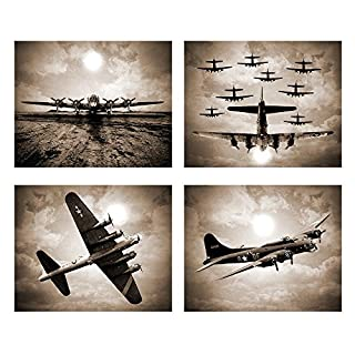 Wallables Vintage Sky Aviation Wall Art In Rich Sepiatone Set Of Four 8x10  Airplane Theme Decor