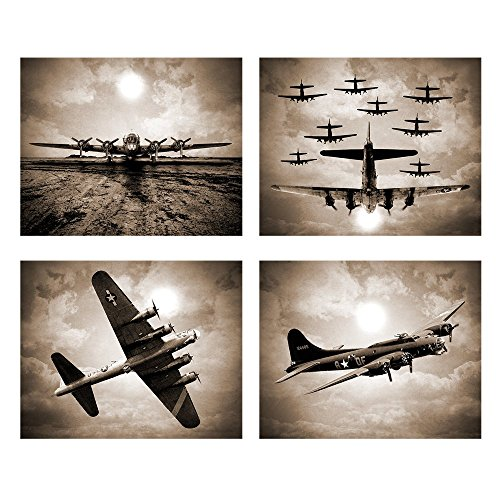 Poster Art Aviation (Wallables Vintage Sky Aviation Wall Art in Rich Sepiatone Set of Four 8x10 Airplane Theme Decor Prints, Great for Mens Gift, Office, Home, Bachelor pad, Barbershop Decoration! Only at)