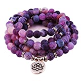 GVUSMIL 8mm 108 Mala Beads Wrap Bracelet Necklace for Yoga Charm Bracelet Natural Gemstone Jewelry for Women Men (Purple Weathered Stone)
