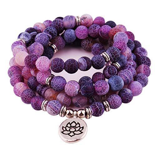GVUSMIL 8mm 108 Mala Beads Wrap Bracelet Necklace for Yoga Charm Bracelet Natural Gemstone Jewelry for Women Men (Purple Weathered Stone) ()