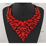 style11 red - Women Fashion Pendant Crystal Flower Choker Chunky Statement Chain Bib Necklace