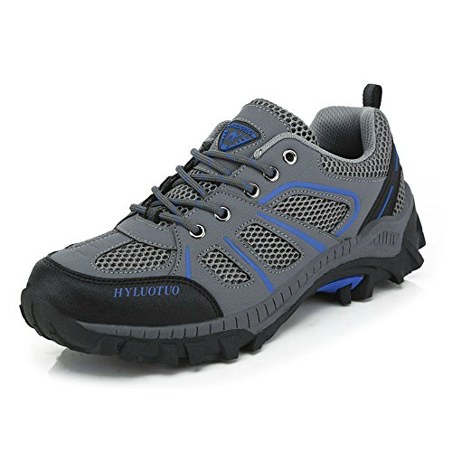 Men's walking sneakers travel casual comfortable leather lightweight fashion breathable running outdoor athletic hiking gray mesh ventilator shoes (8, Gray) (Hiking Width Shoes Wide)