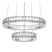 "Dearlan Modern Big Crystal 2 Ring Chandeliers D19.7+11.8"" Ceiling Lighting Fixture Chandelier Lighting for Living Room Hotel Hallway Foyer Entry Bed Room"