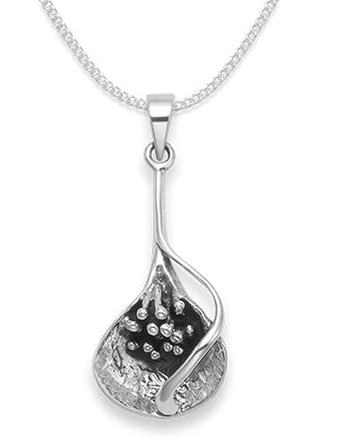 Sterling Silver Calla Lily Pendant - Size: 23mm x 13mm on 18 inch Silver Chain - 8069 J8haNDu