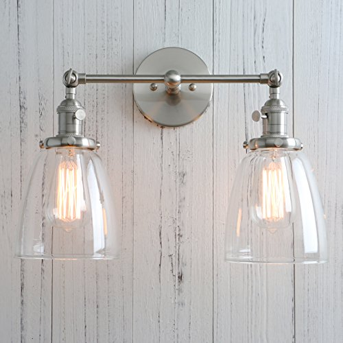 Permo Double Sconce Vintage Industrial Antique 2-Lights Wall Sconces with Oval Cone Clear Glass Shade (Cone Glass Shade Wall Lamp)