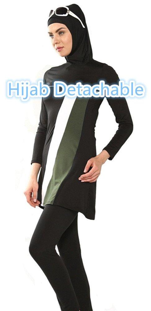 nadamuSum Costume da Bagno Musulmano Donne Ragazze Costume da Bagno Muslim Swimwear Ragazze Signore Modesto Copertura Completa Beachwear Burqini Burkini