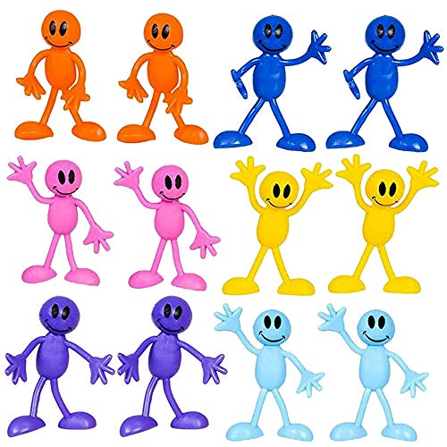 Bendable Smiley Figures – Happy Faces – 12 Pack Assorted Colors -Bendable Toys & Games, Action & Toy Figures, Party Favors And Novelty's – By Kidsco