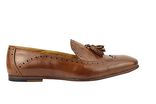 3cb621de4d945 Mens Tan Brown Vintage MOD 2 Tassel Loafer Slip on Brogue Shoes in Real  Leather: Amazon.co.uk: Shoes & Bags