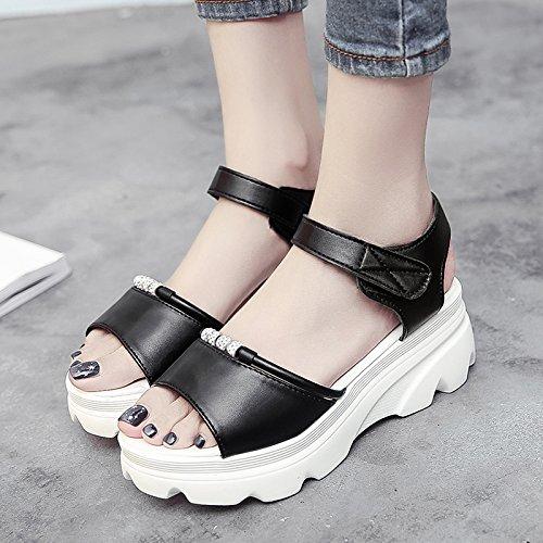 RUGAI-UE Las mujeres diamante mágico High-Heeled Sandals Verano estudiante zapatos planos zapatos Boca de Pescado Black