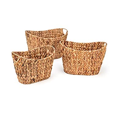 Trademark Innovations Oval Hyacinth Baskets with Iron Wire Frame (Set of 3)