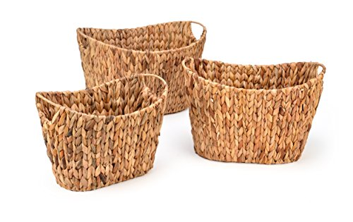 Trademark Innovations Set of 3 Oval Hyacinth Baskets with Iron Wire Frame