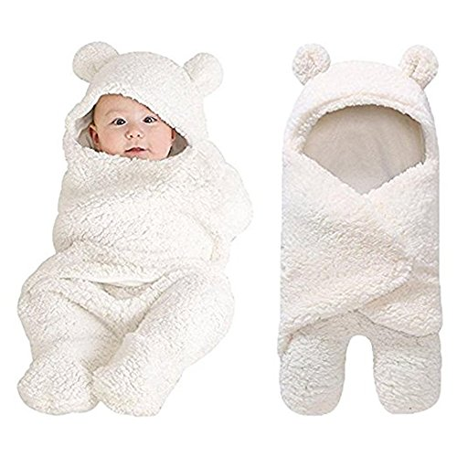 Newborn Baby Cartoon Sheep Fleece Bunting Snowsuit Thicken Warm Jumpsuit Coming Home Outfits Size 0-3 Months (White) -