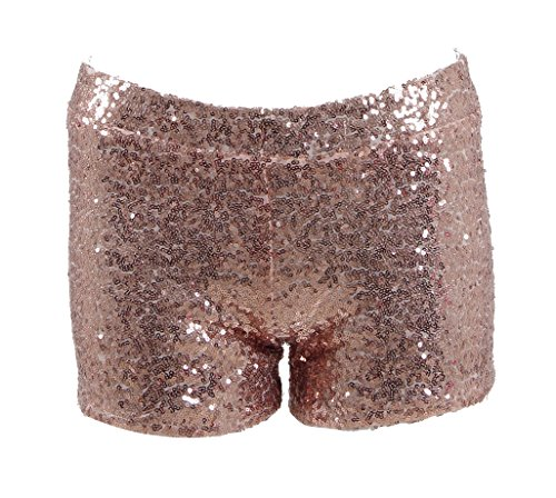 - Women Sexy Hot Glitter Sequin Shorts Summer Club Wear Multi-Color (US Women-S, Rose Gold)