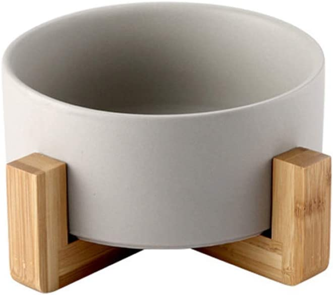 llkajes Ceramic Raised Cat Bowl Food Water Dog Basic Bowl with Anti-Slip Wooden Stand Protect Neck Joints Pet Feeding Bowls Easy to Clean Healthy Eating-Gray