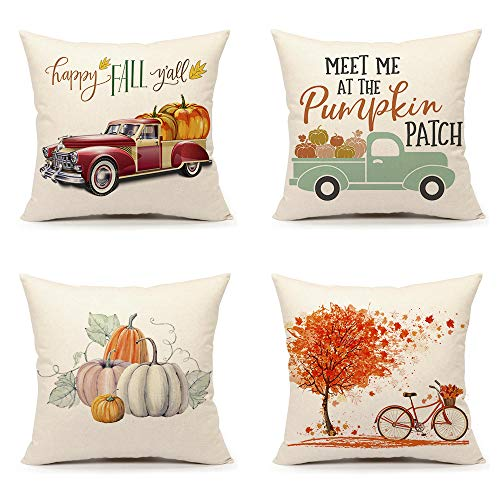 - 4TH Emotion Set of 4 Fall Throw Pillow Cover Pumpkin Truck Maple Leaves Bicycle Farmhouse Autumn Cushion Case for Sofa Couch 18 x 18 Inches Cotton Linen