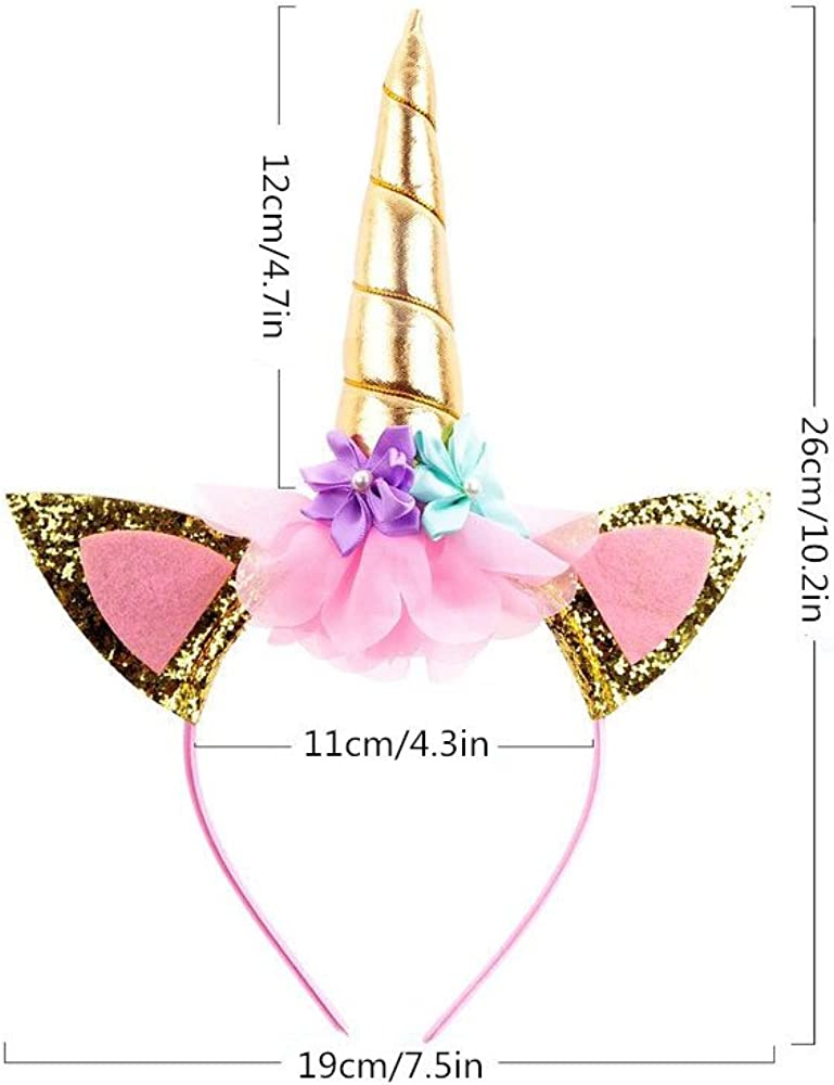 SunTrader Girls Layered Rainbow Tutu Skirt with Unicorn Horn Headband Outfits for Birthday Party Dress Up