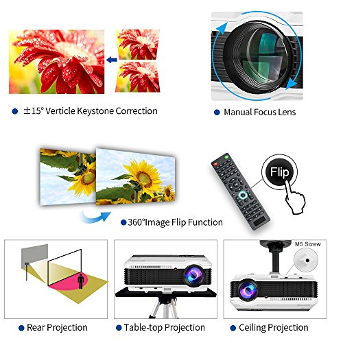 Bluetooth Projector Wireless LED 3900 Lumen Android Bluetooth Proyector Smart Wifi HD WXGA Home Theatre Projectors Airplay Miracast LCD 1080P Android Projector with Bluetooth HDMI USB VGA AV Audio Out