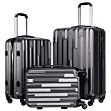 Coolife Luggage Suitcase 3 Piece Set with TSA Lock Spinner Hardshell Lightweight (gray)