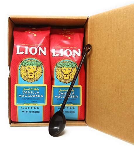 Lion Coffee VANILLA MACADAMIA Smooth & Nutty Ground (Two 10 Oz. Bags) with 10-gram Coffee Scoop in Crush Proof Corrugated Mailer (Pack of 2)
