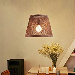 Pendant lights Southeast Asian Rattan Pendant Lamp Bamboo Single Head Chandelier Bedroom Dining Room Study Lamp (Size : 3040cm)