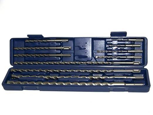 Hartmetallspitze und Meisselsatz mit SDS-Schaft Hammer-Bohrer 12-tlg.
