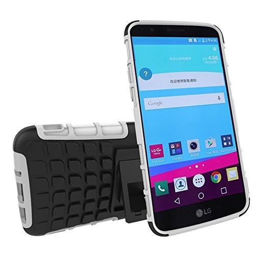 LG G5 Funda,COOLKE Duro resistente Choque Heavy Duty Case Hybrid Outdoor Cover case Bumper protección Funda Para LG G5 - púrpura Blanco