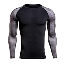 Jiayiqi Mens Compression Baselayer Long Sleeved Top Sport Fast Dry Shirts