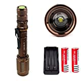 1Pc Paradisiac Popular 5-Mode LED Flashlight 3000LM Adjustable Focus Zoomable Torch Waterproof Lamp Color Bronze with Battery Charger
