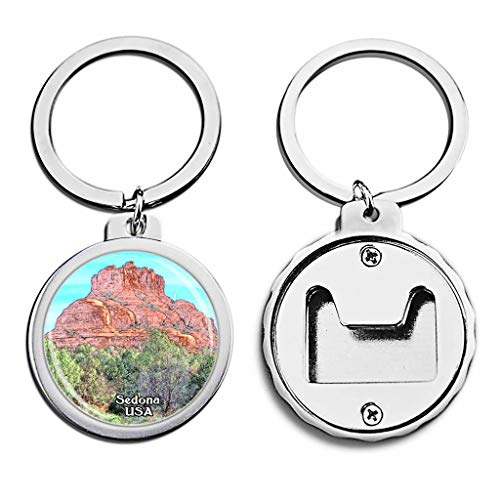 (USA United States Bottle Opener Keychain Cathedral Rock Sedona America Mini Bottle Cap Opener Keychain Creative Crayon Drawing Crystal Key Chain Travel Souvenirs Metal)