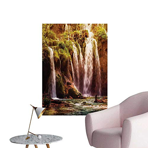 - Anzhutwelve Nature Wall Sticker Decals Waterfall Cascade Forest Tree Moss Lake Stones Rocks Wonder of The World ImageGreen and Brown W32 xL36 Custom Poster
