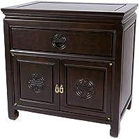 Oriental Furniture Rosewood Bedside Cabinet - Dark Rosewood