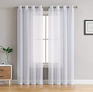 """HLC.ME 2 Piece Semi Sheer Voile Window Treatment Curtain Grommet Panels for Bedroom (54"""" W x 108"""" L, White)"""