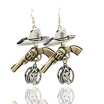 Western Cowgirl Vintage Hat Stetson Gun Revolver Horse Horseshoe Rodeo Charms Earrings