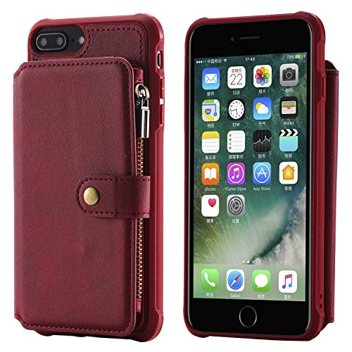 Case for iPhone8 Plus iPhone 6+ 7p,Red Kickstand Protective Credit Card Case Holder Durable High Capacity Cover Shell Girl Boy Men Women
