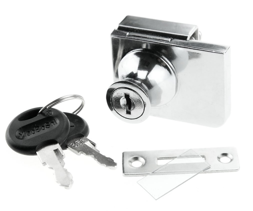 Glass Cabinet Hinged Display Lock Chrome Steel For Ikea Argos Detolf Set Co Uk Kitchen Home