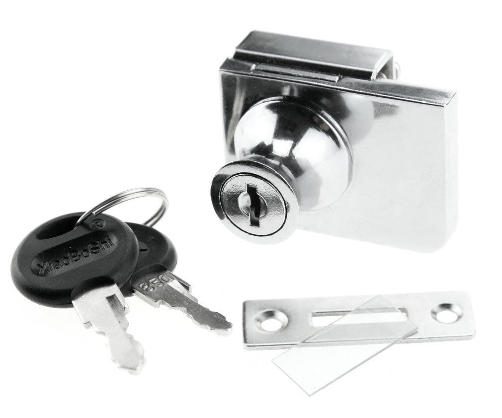 1 GLASS DOOR LOCK NO DRILLING REQUIRED INC KEY: Amazon.co.uk: DIY ...
