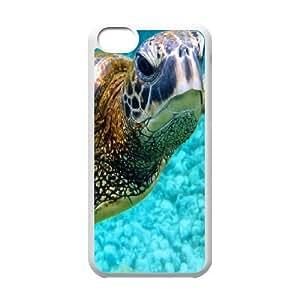 iPhone 5C Cases, Elegant Design Sea Creature Sea Turtle Cases For iPhone 5C {White}