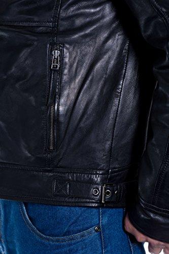 de Cera Cazadora Negro para de hombre cuero Vintage suave con antideslizante cuello cierre gnn1SOfq