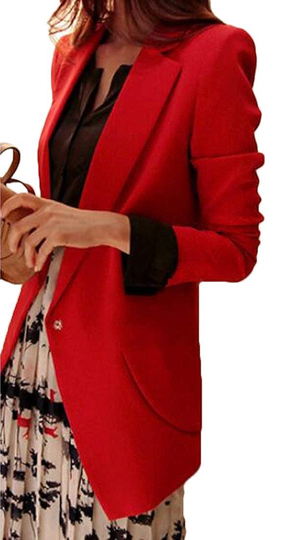 VOGMEM Women Linen Loose Solid Color Long Sleeve Suit Sport Coat Lightweight Jacket