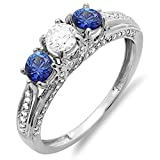 14K-White-Gold-White-Diamond-And-Blue-Sapphire-Ladies-Vintage-Bridal-3-Stone-Engagement-Ring