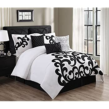 Amazon Com 9 Piece Empress 100 Cotton Black White Comforter Set