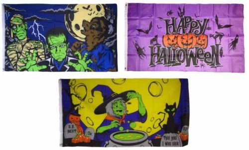 New They can be used indoors or outdoors.3x5 Happy Halloween 3 Pack Flag Wholesale Set #19 Combo 3'x5' Banner Grommets.The authentic design is based on information from official (Customs For Halloween In Miami)