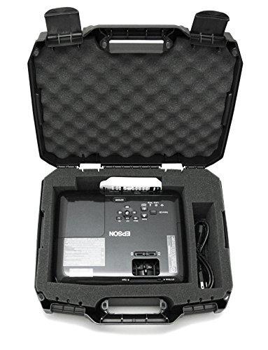 Carrying Accessories Cases Projector - CASEMATIX Projector Travel Case Designed For Epson VS250 SVGA, VS350 XGA, VS355 WXGA Projectors, HDMI Cable and Remote - Custom Foam Compartment and Hard Shell Protection