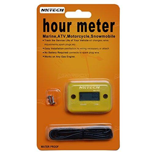 NKTECH NK-HS2 Inductive Hour Meter For Gas Engine Marine ATV Motorcycle Boat Snowmobile Dirt Ski Generator Waterproof Stroke Tachometer (Yellow)
