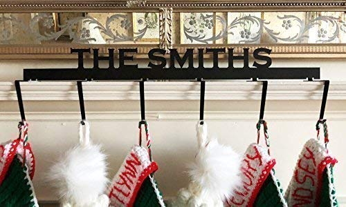Personalized Mantel Christmas Stocking Hanger (Copperplate Font - 6 Hooks) - 1/8