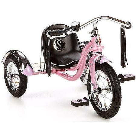 "12"" Schwinn Roadster Trike With Custom ""Mustache"" Cruiser Handlebars with Long Tassels, Pink"