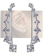Ear Jewelry for Women 7 Star Ear Cuffs Climber Earrings 925 Sterling Silver Hypoallergenic Earring with Cubic Zirconia