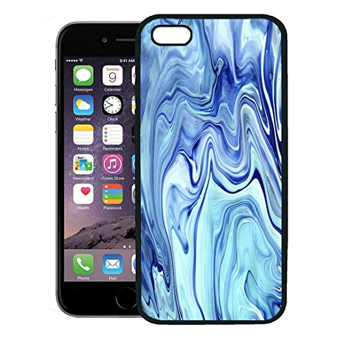 Semtomn Phone Case for iPhone 8 Plus case Cover,Watercolor Cobalt Blue Neon Indigo Marbling Marble Painting New Technique Colorful Marbleized,Rubber Border Protective Case,Black