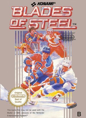 1988 KONAMI INDSUTRY CO., LTD. KONAMI BLADES OF STEEL 8-BIT NINTENDO VIDEO GAME CARTRIDGE #NES-VS-USA (NINTNEDO 8-BIT VIDEO GAME CONSOLE SYSTEM VERSION)