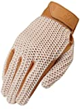 Heritage Crochet Riding Gloves, Size 8, Natural Tan